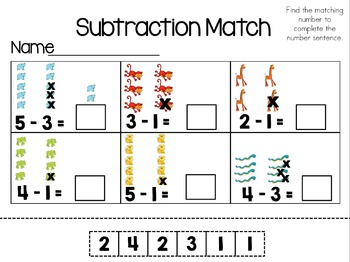Subtraction Match 0-5 Cut & Paste