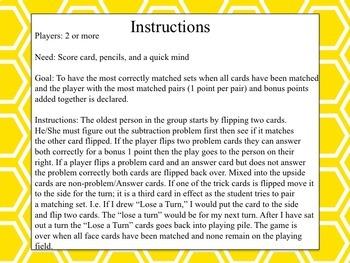 Subtraction Match Up Set Game BUNDLE!