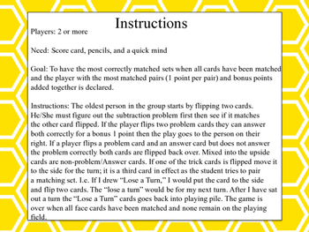 Subtraction Match Up Memory Game 2,3,4