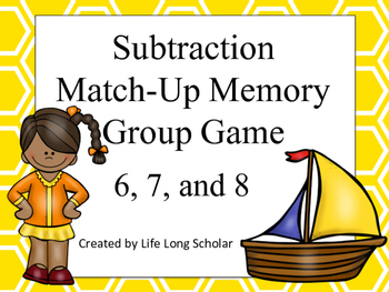 Subtraction Match Up Memory Game 6,7,8