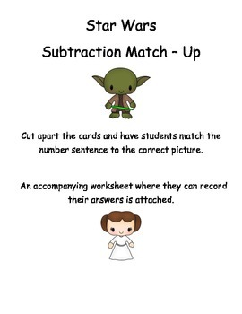 Subtraction Match Up -  within 10 - Star Wars Themed