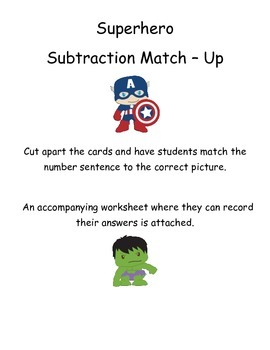 Subtraction Match Up -  within 10 - Superhero Themed