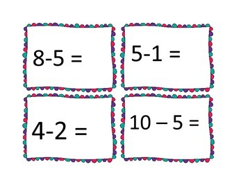 Subtraction Matching Cards