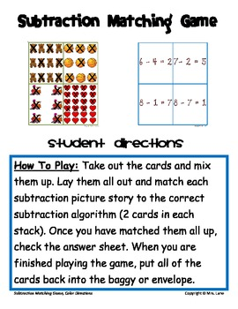 Subtraction Matching Game