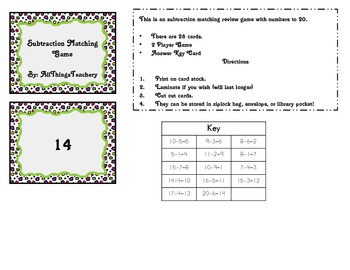 Subtraction Matching Game K-2