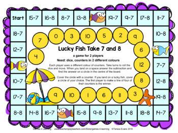 Subtraction Maths Board Games [Australian UK NZ Edition]