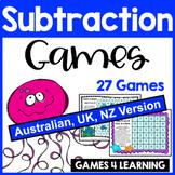 Ocean Animals Subtraction Maths Board Games [Australian UK NZ Edition]