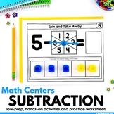 Subtraction Math Centers Kindergarten