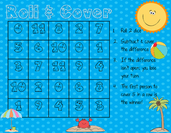 Subtraction Math Center Game {Summer Theme}