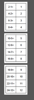 Subtraction Math Fact Flash Cards