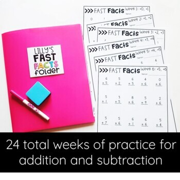 Addition & Subtraction Math Fact Fluency | Fast Facts Folders BUNDLE