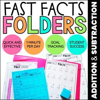 Addition & Subtraction Math Fact Fluency   Fast Facts Folders BUNDLE