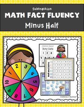 Subtraction Math Fact Fluency: Minus Half