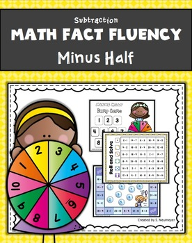 Subtraction Math Fact Fluency: Minus Half
