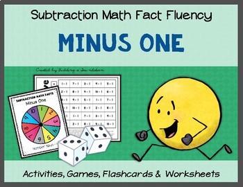 Subtraction Math Fact Fluency: Minus One (-1)