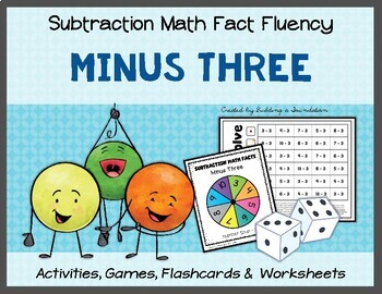 Subtraction Math Fact Fluency: Minus Three (-3)