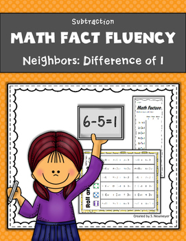 Subtraction Math Fact Fluency: Neighbors - Difference of One