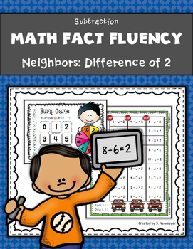 Subtraction Math Fact Fluency: Neighbors - Difference of Two