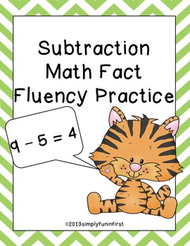 Subtraction Math Basic Fact Fluency Practice