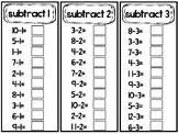 Subtraction Math Fact Fluency Strips. Math Subtraction Practice.