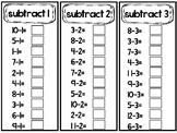 Subtraction Math Fact Fluency Strips. Math Subtraction Practice.