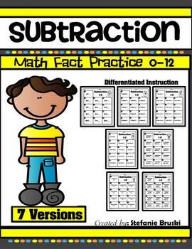 Subtraction Math Fact Practice 0-12