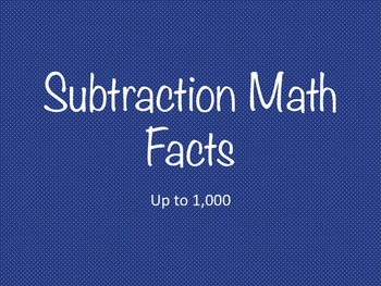 Subtraction Math Facts