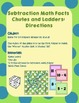 Subtraction Math Facts Chutes and Ladders - Chutes and Ladders Board Included