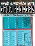 Subtraction Math Facts File Folders