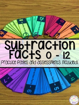 Subtraction Math Facts Practice Activities 0-12 Distance Learning