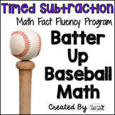 """Subtraction Math Facts Timed Tests-""""Batter Up Baseball"""""""