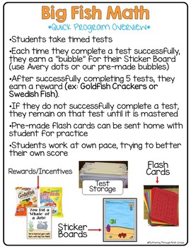 "Subtraction Math Facts Timed Tests-  ""Big Fish Math"""