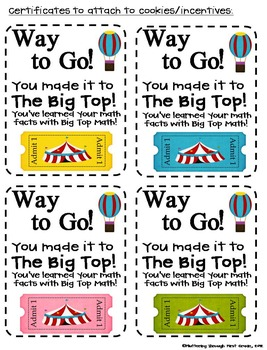 "Subtraction Math Facts Timed Tests-""Big Top Math"""