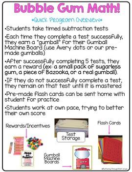 "Subtraction Math Facts Timed Tests-""Bubble Gum Math"""