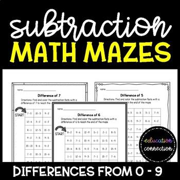 Subtraction Math Mazes