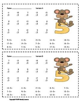 Subtraction Worksheets - Subtraction Facts Practice & Subtraction Fluency