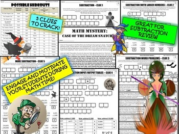 Subtraction Review Math Mystery Activity - Subtracting with Larger Numbers