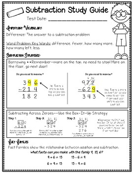 Subtraction Math Notebook