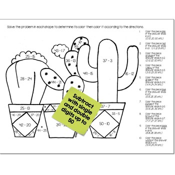 Subtraction Math Practice Cactus Color by Number