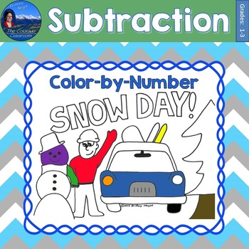 Subtraction Math Practice Snow Day Color by Number