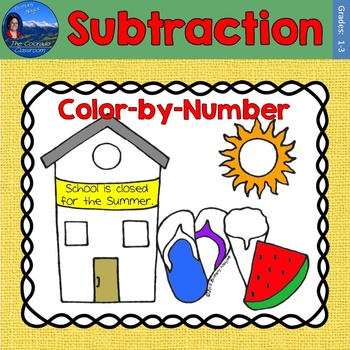 Subtraction Math Practice End of Year Color by Number