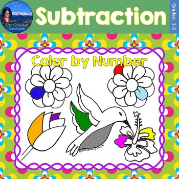 Subtraction Math Practice May Flowers Color by Number