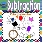 Subtraction Math Practice   New Years Color by Number