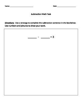 Subtraction Math Task