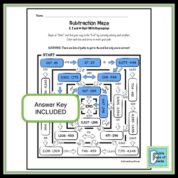 Subtraction Worksheet (2, 3 and 4-Digit with Regrouping)