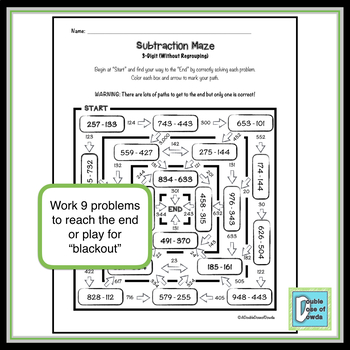 Subtraction Worksheet (3-Digit without Regrouping)