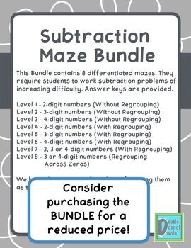 Subtraction Worksheet (3 and 4-Digit w/ Regrouping Across Zeros)