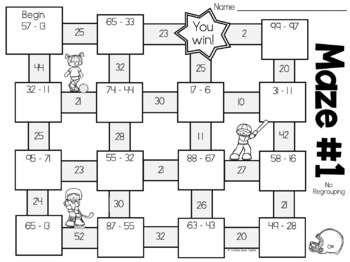 Subtraction Mazes Activity For Subtraction Practice