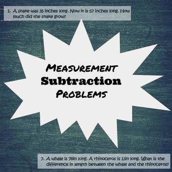 Subtraction Measurement Word Problems