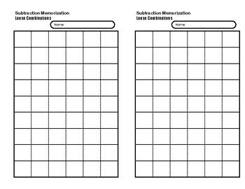 Subtraction Memorization Booklet